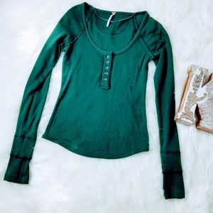FREE PEOPLE Green Henley Long Sleeves Top XS - H2